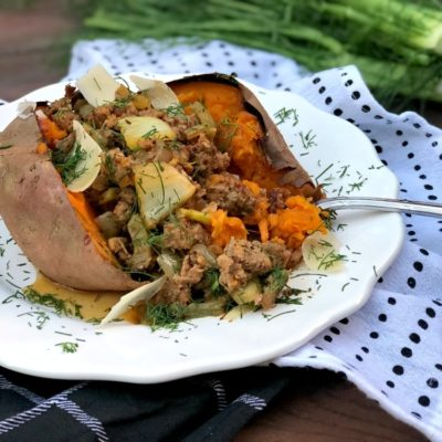 Sausage and Fennel Loaded Sweet Potato #bakedsweetpotato #loadedsweetpotato #sausageandfennel #sausageandsweetpotato #comfortfood