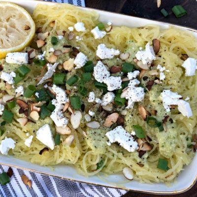 Warm Spaghetti Squash Salad with Artichoke Purée