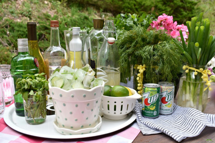 Msg 4 21+ 5 Easy Tips for Hosting a Garden-themed Cocktail Party with @7UP #ad #DoMoreWith7UP #gardenparty #cocktailparty #7UP #herbinfusedicecubes