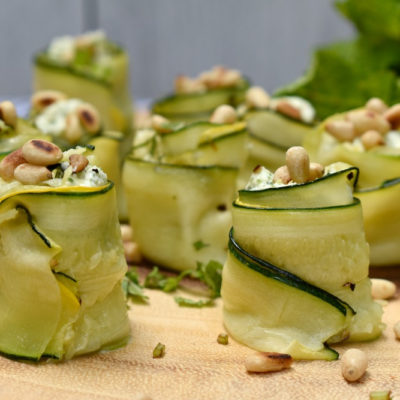 Whipped Feta and Mint Zucchini Rosettes