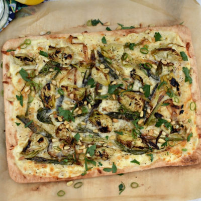 Charred Scallion and Artichoke Flammkuchen (German Pizza)